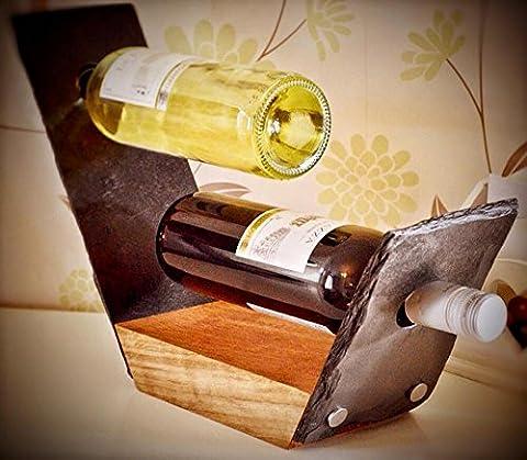 Platters Slate - Slate & Oak Wine Rack Two Wine Bottle Holder Handmade in The UK Perfect Unique Gift by Platters Slate