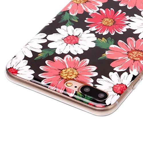 iPhone 7 Plus Hülle Marmor, iPhone 8 Plus Case Rosa Schleife Ultra Dünn Slim Silikon Backcover mit Bunte Marmor Muster Bumper Schale Schutzhülle Handyhülle für iPhone 7 Plus / 8 Plus Rosa Blume