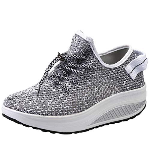 BaZhaHei Sneakers Donna Zeppe,Moda Respirabile Scarpe Mesh Fondo Spesso Scarpe a Dondolo Donne Scarpe da Corsa Casual Scarpe da Lavoro Running Fitness Shoes con Sportive All'aperto 35-42