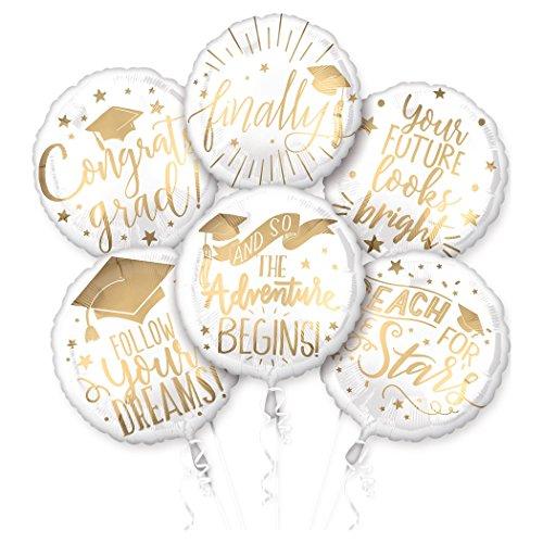 Amscan International Anagram 3743001 - Confezione di 6 palloncini a forma di mazzo di fiori di laurea, colori assortiti