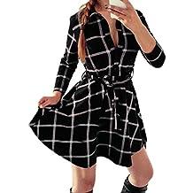 West See Frauen Dünne Kleider 3 4 Hülse Bluse Kariert Plaid V-Ausschnitt  Shirts 808f0c7f8c