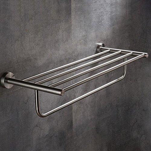 Modernes Badezimmer 304 Edelstahl Draht Zeichnung Doppel Handtuchhalter Handtuchhalter Badezimmer Zubehör ( größe : 80cm ) (Handtuchhalter Badezimmer Nickel)
