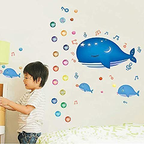 Walplus Wall Stickers Whale High Measure Removable Self-Adhesive Mural Art Decals Vinyl Home Decoration DIY Living Bedroom Office Décor Wallpaper Kids Room Gift, Multi-colour
