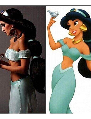 Pelucas de la manera conveniente y cómodo cosplay peluca de cabello de anime aladdin jazmín princesa larga peluca negro,las mujeres clásicas de Halloween cosplay peluca