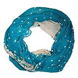 ManuMar Snood sciarpa Loop scialle dello Snood cuore infinito Cuore Azzurro Bianco Blu donne sciarpa
