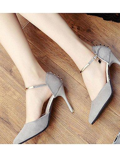 WSS 2016 Chaussures Femme-Décontracté-Noir / Gris-Talon Aiguille-Talons-Chaussures à Talons-Laine synthétique gray-us8 / eu39 / uk6 / cn39