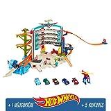 Hot Wheels City Mega Garage avec Lumières et Sons, coffret de jeu pour petites voitures avec...