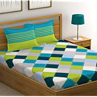HUESLAND by Ahmedabad Cotton 144 TC 100% Cotton Double Bedsheet with 2 Pillow Covers - Blue, Green, Grey