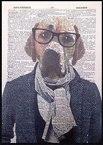 Golden Labrador Imprimé Vintage Dictionnaire Page mur Art Picture chien Golden Retriever