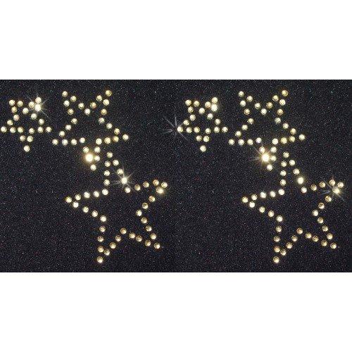 2DREIFACH Rosa Strass Star zum Aufbügeln Kristall Transfer rot