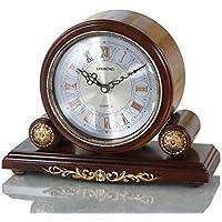 WEIJUN SHOP Retro Mantel/Kaminsims Braun Quarzuhr Wohnzimmer Schreibtisch  Regal Uhr Dekoration