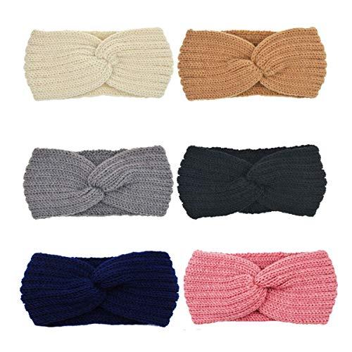 DRESHOW 6 Stück Damen Schleife Design Stirnband Winter Kopfband Haarband Stirnband Häkelarbeit