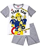 Feuerwehrmann Sam Jungen Pyjama Schlafanzug Shorty 2016 Kollektion - grau (116)