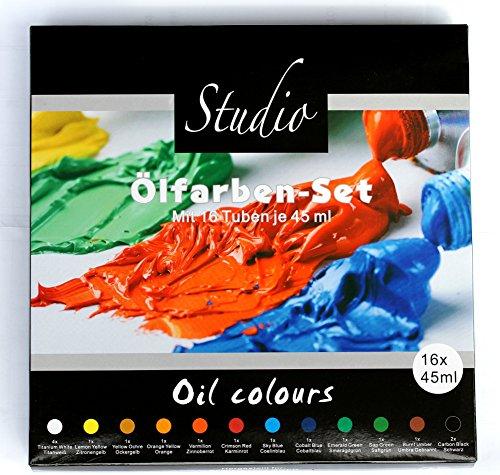Magi Studio Ölfarben 16 Tuben je 45 ml, Set mit 12 Farbtönen feine Ölfarbe