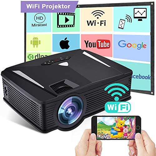 Wireless WiFi Beamer 2400 Lumen, Weton Mini Beamer WiFi Video Beamer 1080p HD LED Projektor ,+70% Helligkeit 50.000 Stunden Leben, Heimkino Beamer kompatibel mit HDMI/VGA/SD/AV/USB für Smartphones 1080p Multi-system