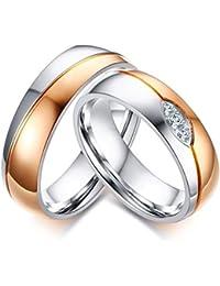Vnox 2 piezas de la promesa de la boda de las mujeres de los hombres AAA + Zirconia cúbico promete el anillo de la venda del fósforo para el amor de los pares