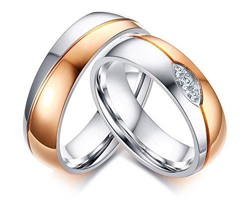 Vnox 2 Stück Männer Frauen Hochzeit Versprechen AAA + Cubic Zirconia Versprechen Match Band Ring für Paar - Frauen Hochzeit-band-ring Für