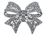 Fabriqué avec des éléments de cristal Swarovski Style ancien Gris Broche noeud ruban Noël