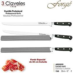 """3 Claveles - Couteau Professionnel de Jambon de 30 cm 12"""" Gamme Forgé, Acier Inoxidable Molybdène Vanadium Haute Qualité. Dureté 54 Hrc, avec Étui de Protection Spécial"""