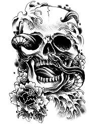 Stickers de tatouage temporaire pour l'art corporel Tète de mort #6003 Temporary Tattoo Body Tattoo Sticker - FashionLife