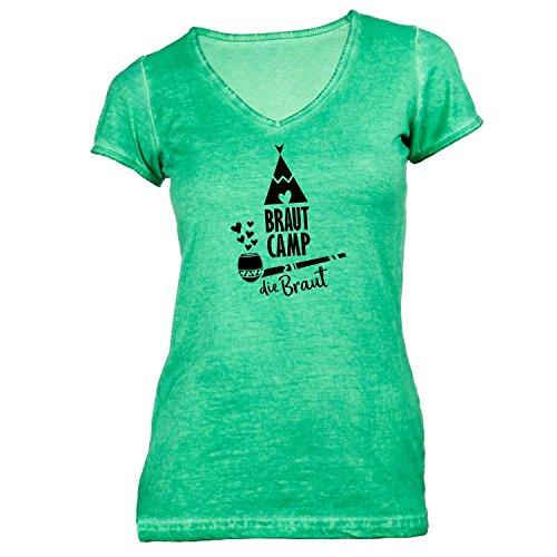 Damen T-Shirt V-Ausschnitt - Junggesellenabschied - BRAUT Camp Smoke - JGA Polterabend Junggesellen Grün