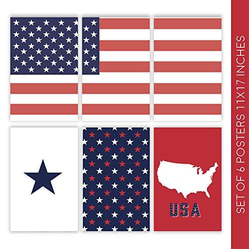 Witty Ways Americana Lot de 6 Magnifiques Affiches murales 11 x 17 cm Motif  Drapeau américain