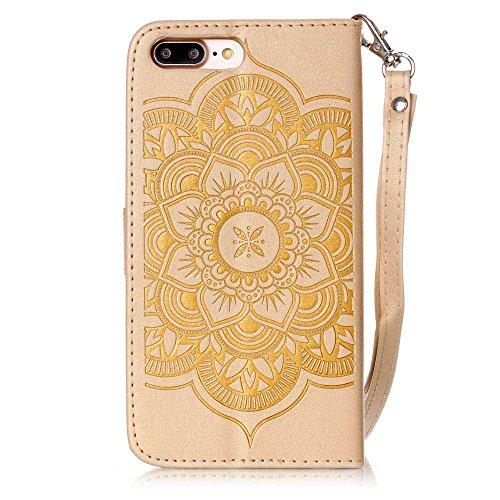 iPhone 7 Plus Coque ( Noir ), Bling Cristal Strass Cuir Etui Rabat Style Portefeuille Case Avec Carte Slots pour Apple iPhone 7 Plus 5.5 inch Avec Windbell Embossage Motif or