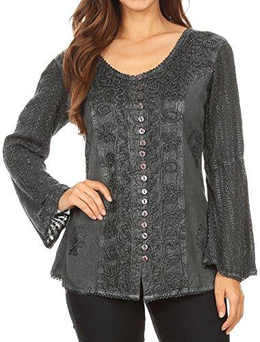Sakkas 1679 - Salma Damen Button Down Langarm Bluse Top Shirt Stonewashed und Spitze - Charcoal - L