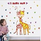 Creativi della parete caldi amano adesivi murali bambini camera da letto camera sfondo decorazione giraffa