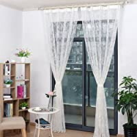 ZLyugou Lace Flower Pattern Sheer Curtain Drape Home Bedroom Decoration