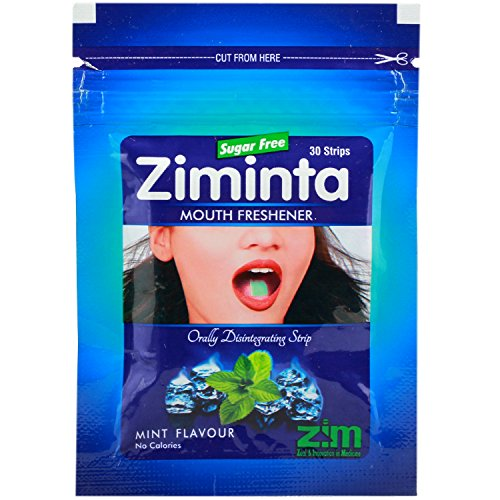 Ziminta Sugar Free Mint Mouth Freshener Easily Soluble Digestive Dispensable Strip - 30 Strips (Mint Flavour, Blue)  available at amazon for Rs.99