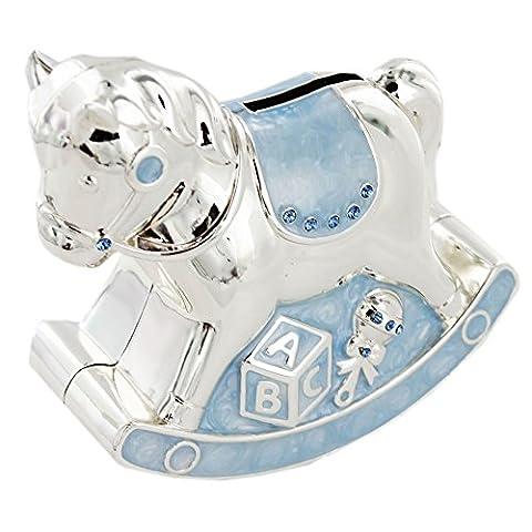 Cadeau de baptême Argenté Emaille Bleu Tirelire en forme de cheval à bascule