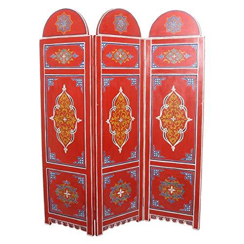 Casa Moro Orientalischer Paravent Raumteiler Vega aus Holz 145 cm breit x 176 cm hoch bunt | Marokkanische Trennwand als Raumtrenner & schöne Dekoration | Kunsthandwerk aus Marokko | MO2103