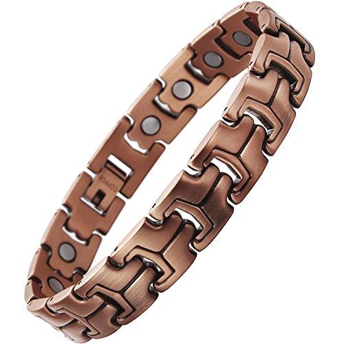 Damen Magnet Armband Kupfer für Arthritis, Angst, Rheuma, Stress, Schmerzen Relief | 19Magnete, je 3500Gauss | by Hugo Enrico