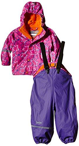 *CareTec Kinder Wasserdichte Regenlatzhose und -Jacke im Set (Verschiedene Farben), Mehrfarbig (Purple 633), 86*
