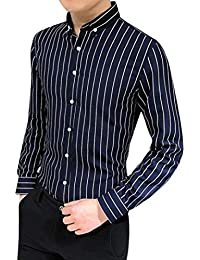 BUSIM Men's Long Sleeve Shirt Suit Button Classic Vertical Stripe Business Slim Fashion T-Shirt Top Casual Comfort...