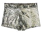 BOC Pantaloncini Nightclub DS Costumi Pantaloncini con Paillette Pantaloncini da Danza Polo Pantaloncini da Spiaggia,A,Grande