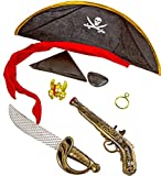 Piraten Seeräuber XXL Set Pistole Säbel Ohrring Augenklappe Kette Kopftuch Halloween Fasching Kostüm Schwert Dolch