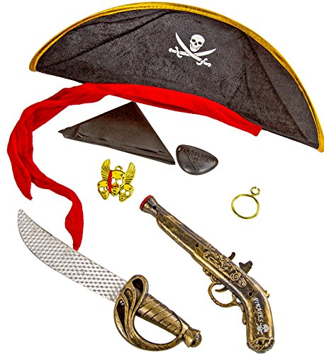 XL Set Pistole Säbel Ohrring Augenklappe Kette Kopftuch Halloween Fasching Kostüm Schwert Dolch (Halloween-kostüm-räuber)