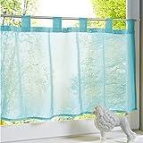 HongYa Transparenter Voile Scheibengardine Uni Bistrogardine Cafe Vorhang mit Schlaufen H/B 45/120 cm Blau
