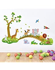 Friends Office Automation Jungle Animals Wall Stickers for Kids (120 X 90 cm,Multicolor,Paper)