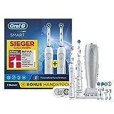 Oral-B Bonuspack Smart Wiederaufladbare Elektrische Zahnbürste, 2Handstücke mit Bluetooth-Verbindung, 5Modi, 6Aufsteckbürsten, 1Reise-Etui, 1 Smart Guide