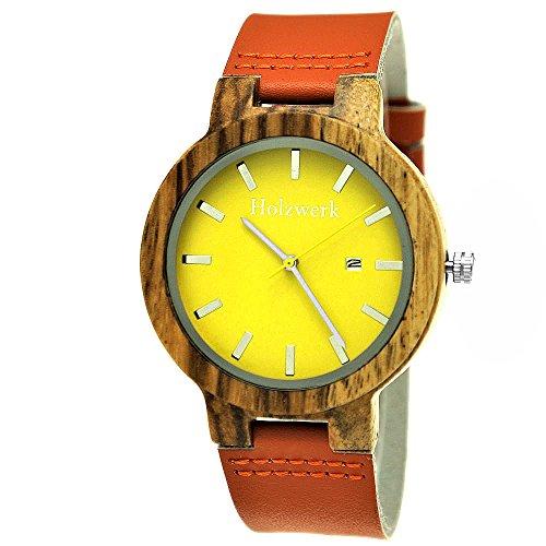 Handgefertigte Holzwerk Germany® Designer Damen-Uhr Herren-Uhr Öko Natur Holz-Uhr Leder Armband-Uhr Analog Klassisch Quarz-Uhr in Gelb Orange