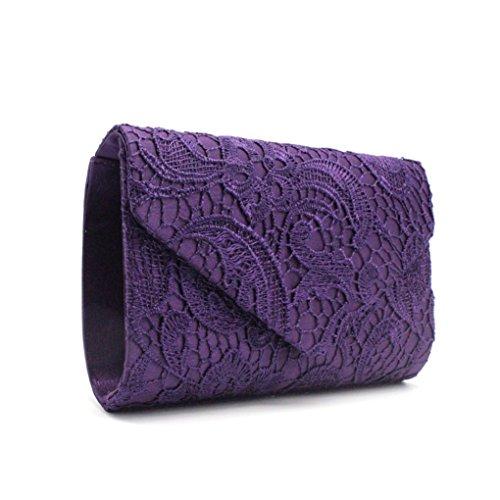 Manadlian Damen Satin Handtasche, Frauen Luxus Blumen Spitze Brautparty Abend Clutch Bag Sahne Elegant Umschlag Abendtasche (Lila) -