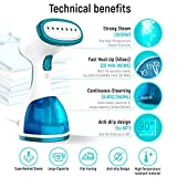 WisTec Techne Direct 1000-Watts Portable Handheld Garment Steamer for Horizontally and Vertically with 260 ml water tank capacity at Home and in Travel (White and Blue)