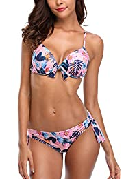 bbc2e32bc4 ATTRACO Womens Halter Triangle Bikini Sets Two Piece Padded Swimming  Costumes