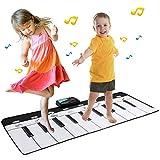 EXTSUD Tappeto Musicale Bambini Tastiera Pianoforte Musichette Giocattolo Educativo Tappetino da Gioco Volume Regolabile 110x36cm Piano Mat Stuoia Musica Perfetto Regalo per Bambini