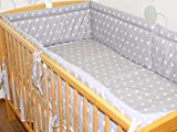 Nestchen Bettumrandung Kopfschutz Für Baby Kind - grau mit weißen Sternen- 190 cm, 360 cm, 420cm für Bett 70x140 cm, 60x120cm 420 cm