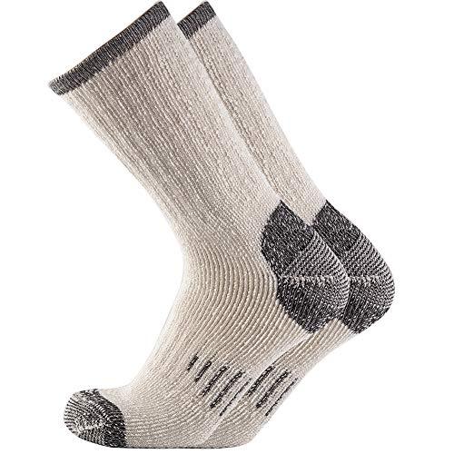 NEVSNEV Merinowolle Wandersocken, Strümpfe Merinowollsocken für Mann, Lange Socken Atmungsaktive Trekkingsocken für Klettern,Wandern,Outdoor Sports Mann 1 Double Schwarz