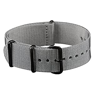INFANTRY Military Grey NATO Watch Band Nylon Fabric Strap G10 4 Rings Black Hardware 22mm Divers